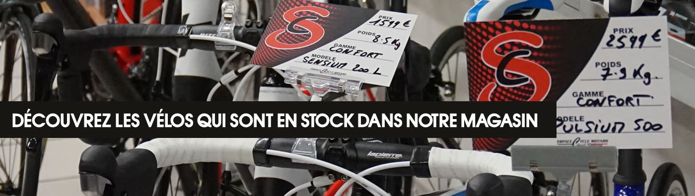 Vélos en stock au magasin